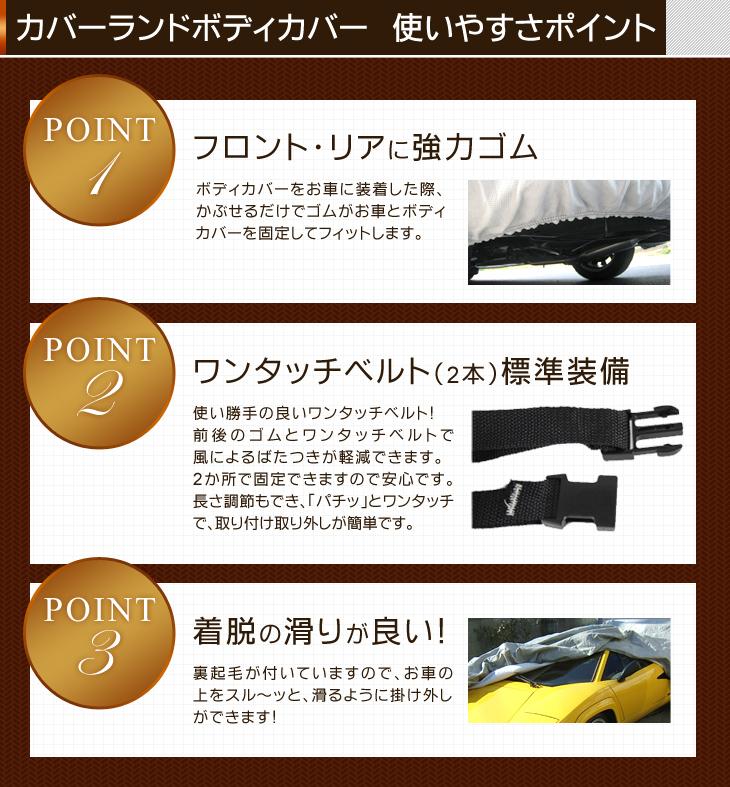 カバーランドボディカバー 使いやすさポイント Point1:フロント・リアに協力ゴム、Point2:ワンタッチベルト(2本)標準装備、Point3:着脱の滑りが良い!